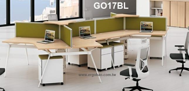 辦公桌/貝爾/120度造型桌/系統工作桌